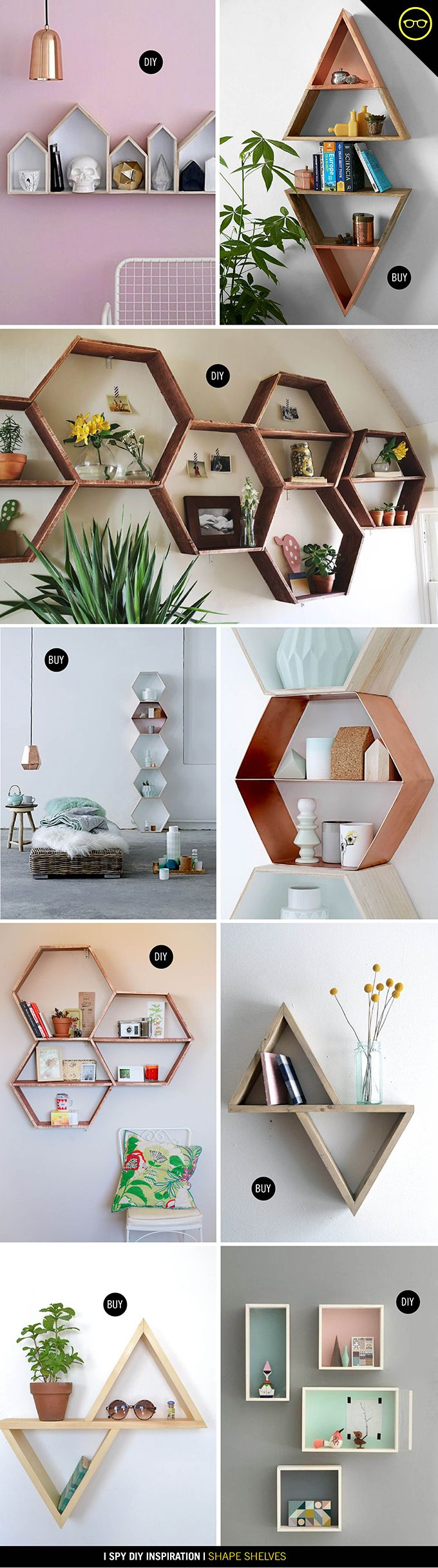 Best 25 geometric shelves ideas on pinterest diy wood shelves inspiration shape shelves i spy diy hexagon wall shelfhoneycomb shelvesgeometric amipublicfo Gallery