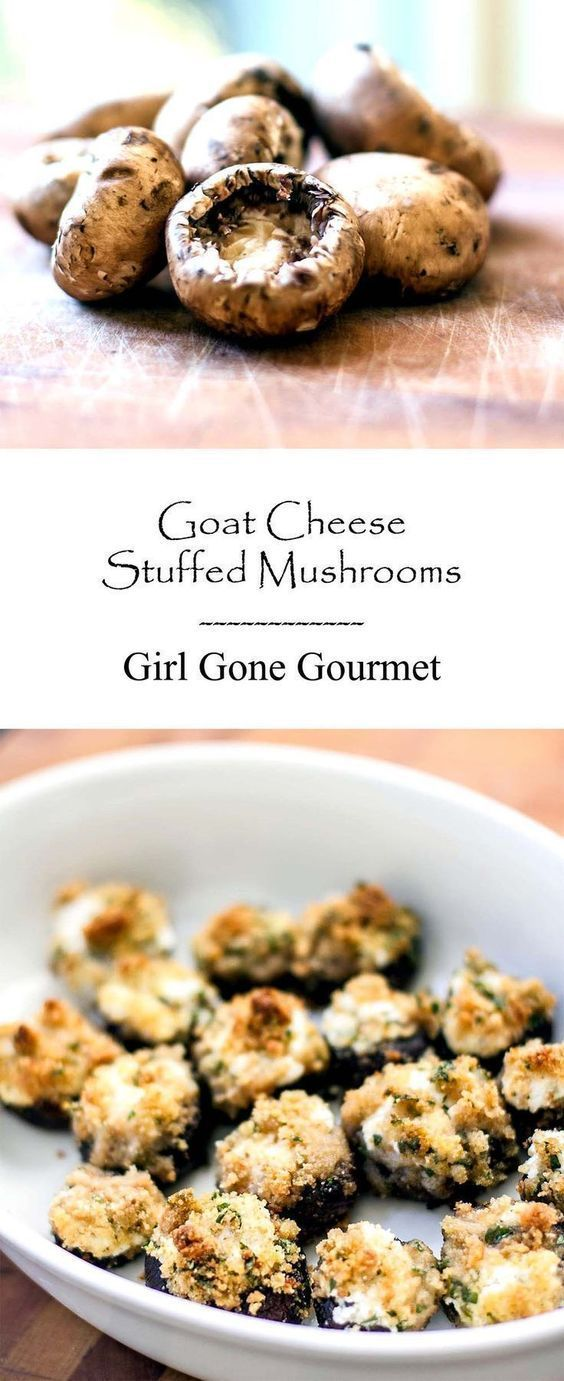 Mushrooms stuffed with creamy goat cheese and topped with crispy breadcrumbs | http://girlgonegourmet.com