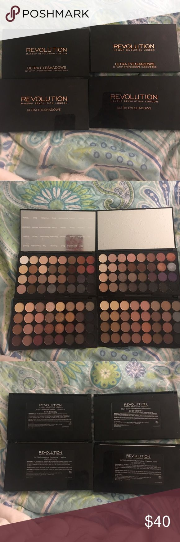 Makeup Revolution Palettes 4 palette bundle includes: Flawless Flawless 2 Flawless Matte and Affirmation palettes. These palettes are $20 each so the price is FIRM (unless bundled.) Makeup Revolution Makeup Eyeshadow