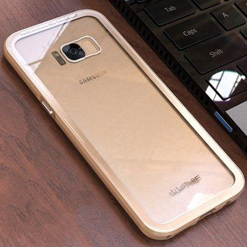 """Luphie Anti Knock Metal Bumper+Transparent 9H Tempered Glass Back Cover Case For Samsung Galaxy S8 Plus 6.2"""" Sale - Banggood.com"""