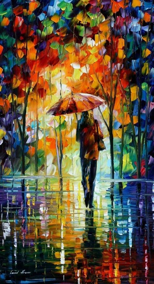 """TOWARD LOVE -  PALETTE KNIFE Oil Painting On Canvas By Leonid Afremov -  Size 20"""" x 36"""""""