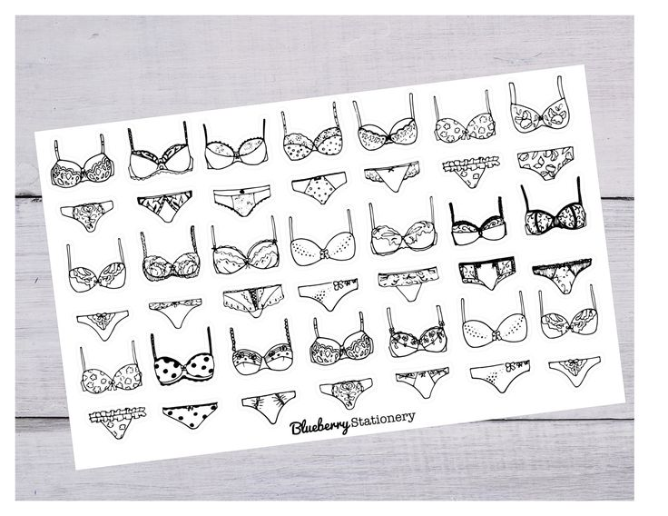 Lingerie Stickers. Underwear. Bra. Planner Stickers Planner. Office sticker. Letter stickers. stationery. Filofax. scrapbook. Project life de la boutique BlueberryStationery sur Etsy