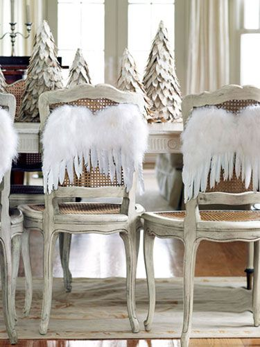 Wings on the back of dining room chairs #christmas
