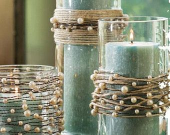 Perlas en guirnalda alambre con yute de la guita - boda rústico o Kit de centro de mesa de boda de playa