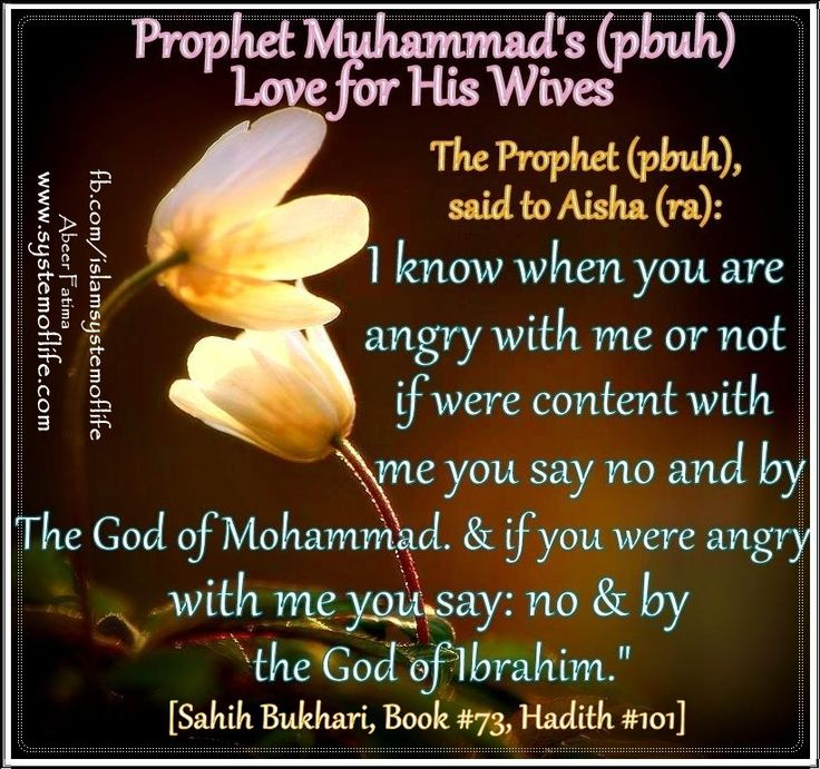 """Prophet(pbuh) demonstrated wonderful examples during his daily life.   Knowing feelings of her wives:   ❤≔≔≔≔≔≔≔≔≔≔❤  Narrated 'Aisha: Allah's Apostle said, """" I know whether you are angry or pleased."""" I said, """"How do youknow that, Allah's Apostle?"""" He said, """"when you are pleased, you say, """"Yes, by the Lord of Muhammad,' butwhen you are angry, you say, 'No, by the Lord of Abraham!' """" I said, """"Yes, I do not leave, except your name."""" [Sahih Bukhari, Book73,Hadith101]"""