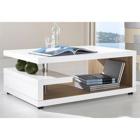 Table Basse Design Rectangulaire A Roulettes Double Plateau