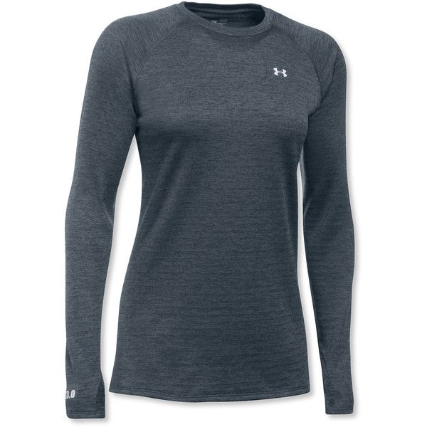 Under Armour Women's Cold Gear Base 3.0, Long-Sleeve Crew Misses (100 CAD) ❤ liked on Polyvore featuring activewear, activewear tops, tops, long sleeve wicking shirts, fitted shirts, long-sleeve shirt, wicking shirts and polyester shirt