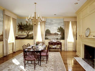 This dining room is very formal with the cornice window box up above. Creates elegance and neutralness to the area
