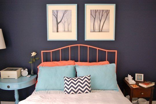 navy, baby blue, and coral - perfect combo! And some of my favorite colors