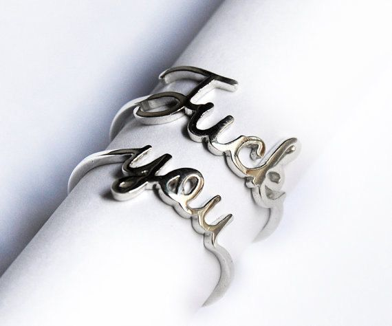 Fck You Mature Ring Sterling Silver or Gold Set by Neoromantica