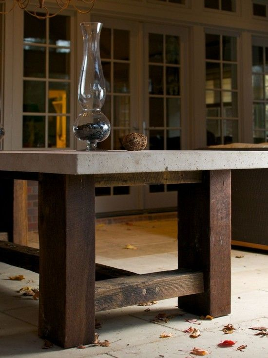 Porch Concrete Table Top Design, Pictures, Remodel, Decor and Ideas