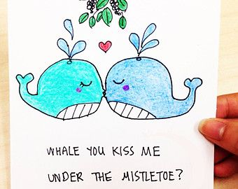 Whale you kiss me under the mistletoe cute and funny Christmas card for boyfriend, husband, girlfriend_hand drawn cartoon whales in love