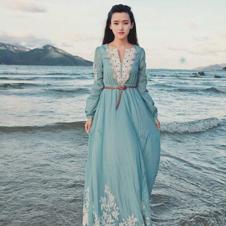 Medieval Dress Marie Antoinette Elegant embroidery cotton long maxi dresses blue Renaissance Gown Victorian Gothic Lo