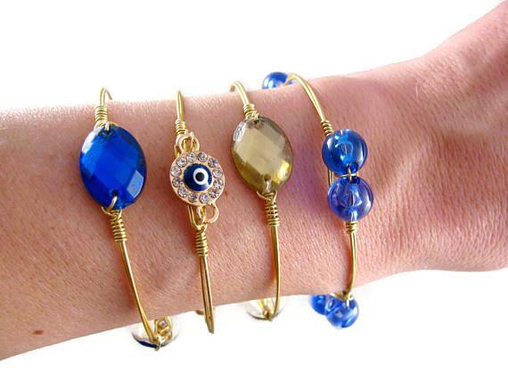 Free Shipping Evil Eye Bangle. Blue Bangle Bracelet. Gold Plated Bracelet. Blue Evil Eye.Wire Wrapped Bangle. Stacking Bracelet Set by SecretStories