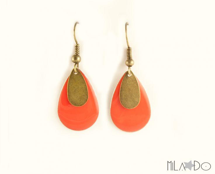 Boucles d'oreilles Gouttes email et bronze rouge