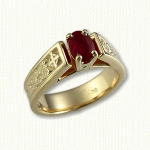 dragon 3 14kt yellow gold bridget engagement ring with dragon cross - Norse Wedding Rings