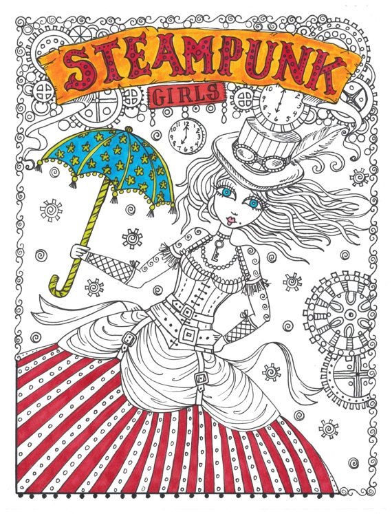 steampunk girls coloring book for all ages fun by chubbymermaid - Girls Coloring Books