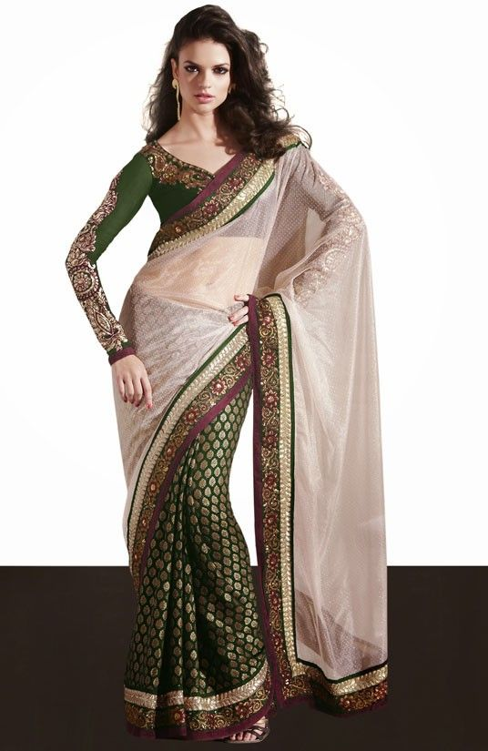 Lush Light Beige and Bottle Green Saree