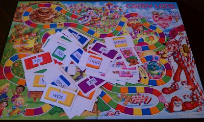 Sight-Words Candyland----When I taught 1st grade we just used blank cards with the color words on it. They had to then move to that color. Love the sight words idea...both are great ways to use this game with older kids.