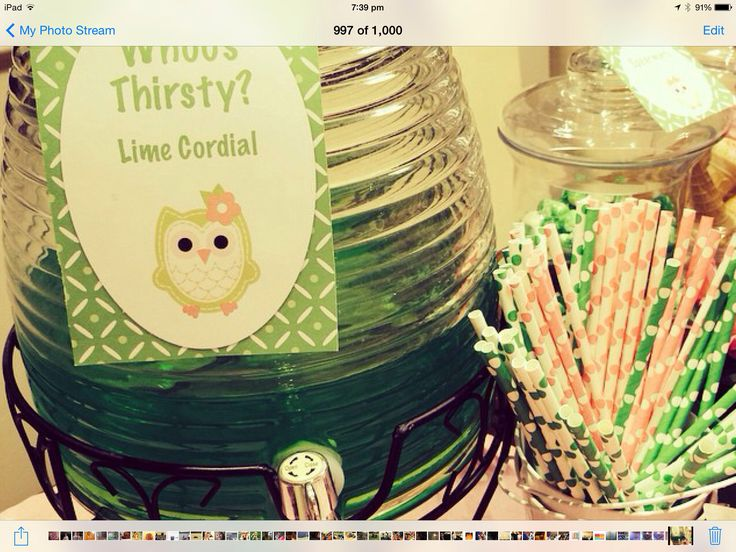 Green and pink baby shower, drinks and tags