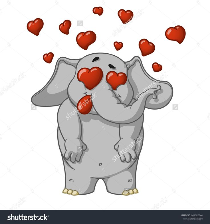 Elephant. Character. Very in love. Enamored. Many hearts. Big collection of isolated elephants. Vector, cartoon