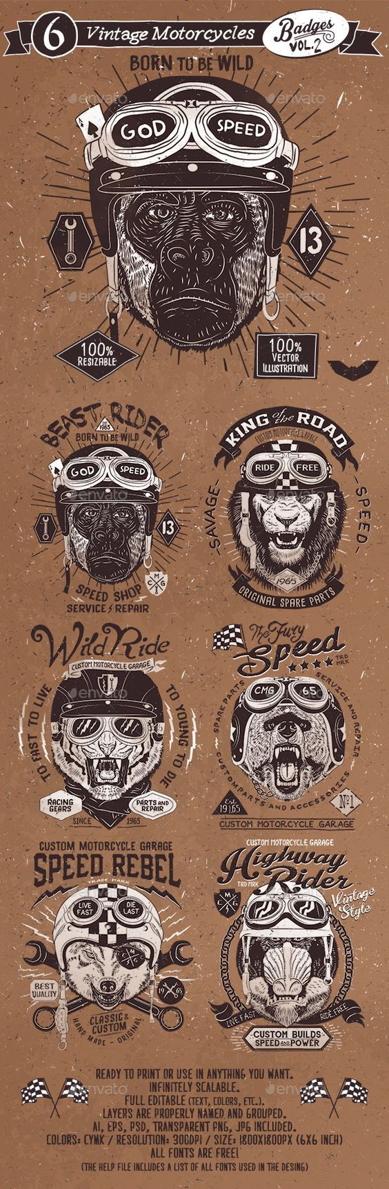 6 Vintage Motorcycles Badges Template PSD, Vector EPS, AI. Download here: http://graphicriver.net/item/6-vintage-motorcycles-badges-vol2/15317344?ref=ksioks: