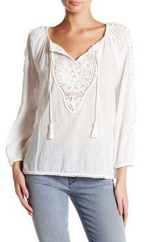 Joie - Oda Long Sleeve Crochet Detail Blouse