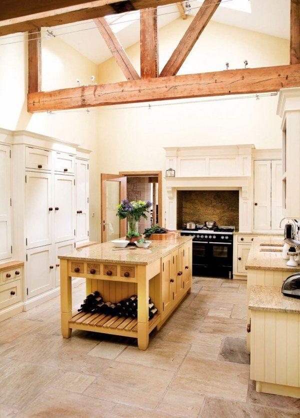 Weiße Küche Rustikale Griffe Balken Granit Platte