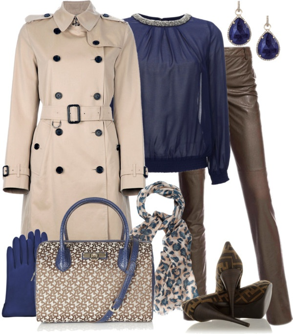 """Burberry Trench Coat & Leather Pants"" by yasminasdream ❤ liked on Polyvore"