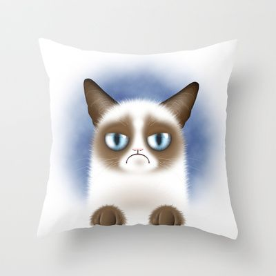 """«SOLD» on Society6: Nope (Grumpy Cat) Throw Pillow / Cover (16"""" x 16"""")  $20.00 #grumpycat #funny #cute #home"""