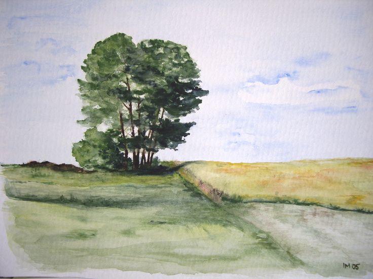 Poniklá II, akvarel, 30x20