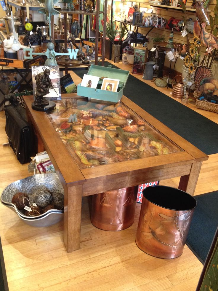 Coffee Table Detailed 3d Carving Of Trout Stream Hand