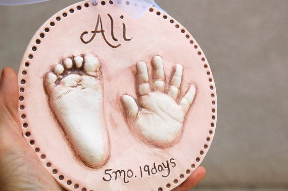 Ceramic Hand and Footprint Plaque   Baby and by TheBabyHandprintCo