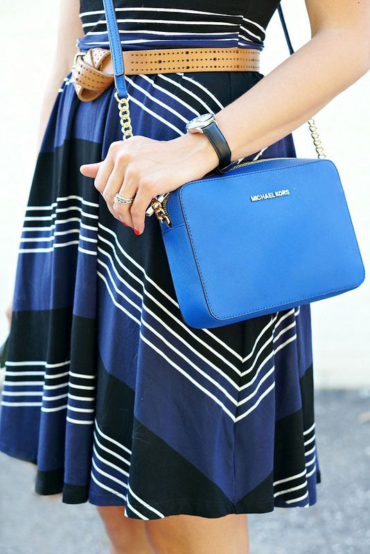 black and blue and white stripes, brown belt, blue Michael Kors purse; summer fair outfit