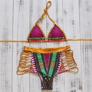 2017 Hot Sexy Gold High Waist Bikini Hollow Out Bandage Swimsuit Cut Out Bikini Set