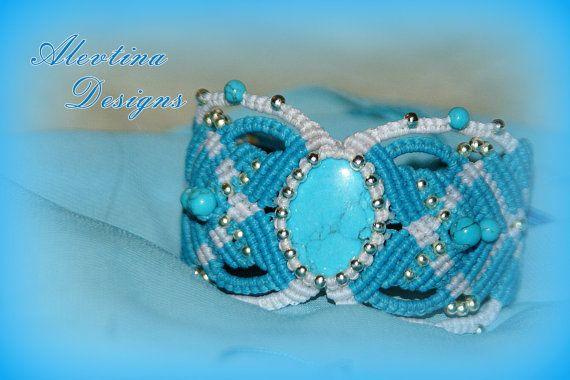 Howlite Turquoise and White Micro Macrame Cuff Armband Bracelet