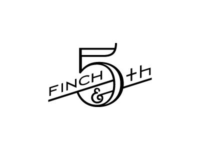 Nice angled type with larger form as an anchor. Finch & Fifth logo.