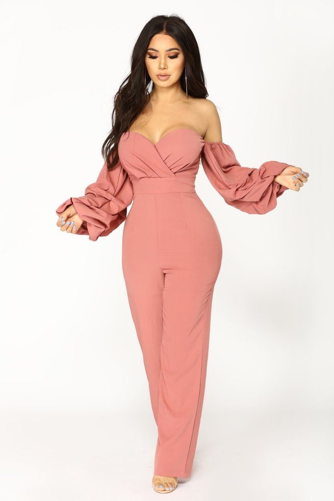 aaf9bbd0a81 Ryana Off Shoulder Jumpsuit - Dusty Mauve