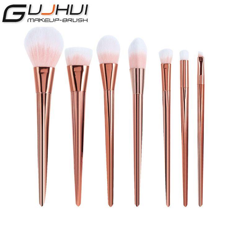2017 Nuevo 7 UNIDS Oro Rosa Rubor Contorno Cepillo Profesional Cepillo Cosméticos Maquillaje Cepillo de Cejas cepillo Pincel de Maquillaje de Belleza herramientas