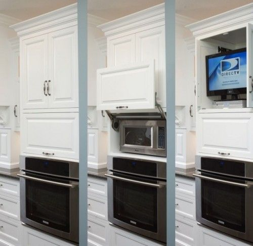 microwave cabinet cover, like microwaves up high, opening a door is easier than bending down!