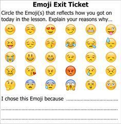 Title: Exit Ticket Emoji Description: End of lesson task to allow pupils to reflect on how the lesson went via the medium of Emoji.