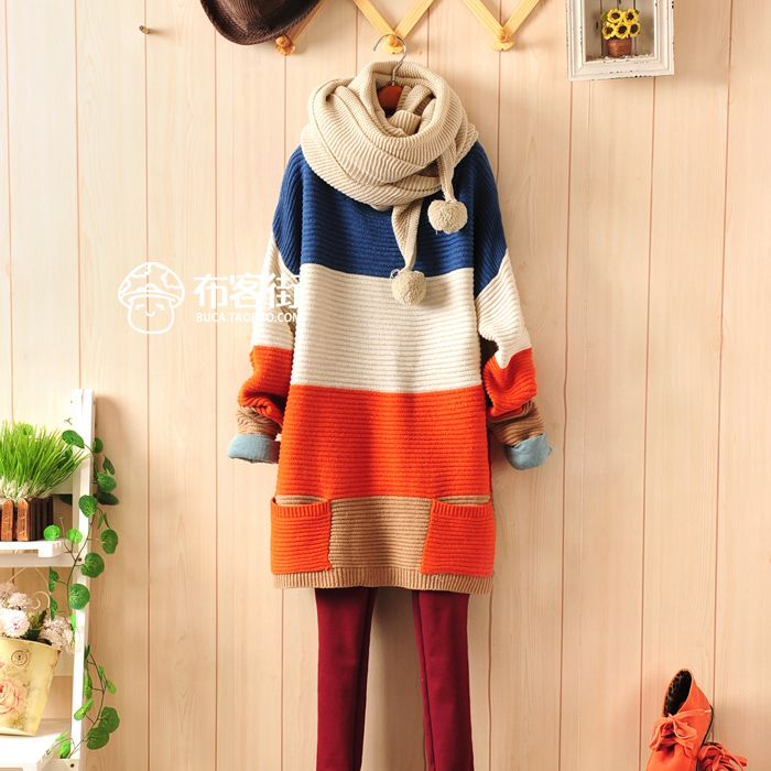 Hot New Autumn and Winter Thick Section Width Stripes Loose Bat Sleeve Sweater-inPullovers from Apparel & Accessories on Aliexpress.com | Alibaba Group
