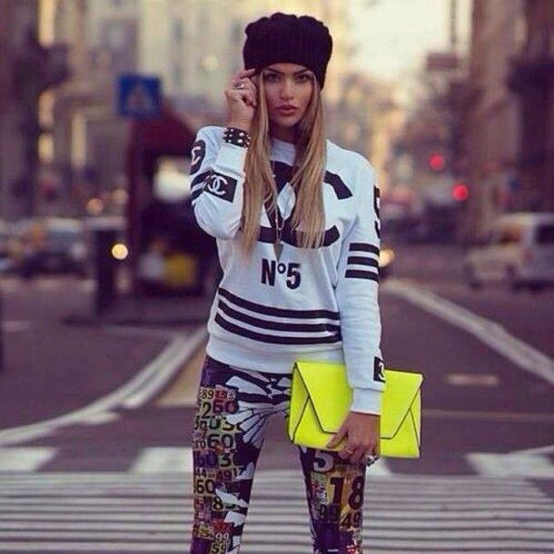 sweater black and white sweatshirt chanel black letters sporty shirt blonde hair n5 crazy pattern stripes neon yellow bag urban bag