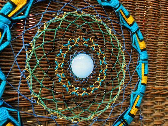 Blue and yelow big dreamcatcher boho mandala Moon stone.