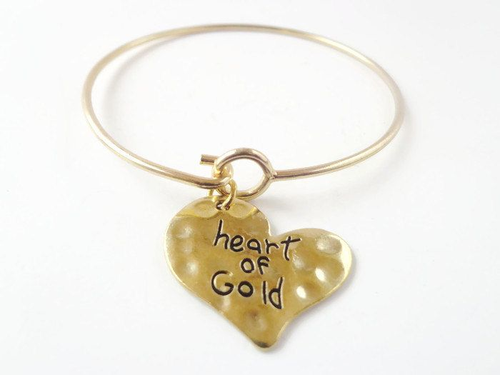 Bracelet  Valentines Day Gift  January Finds  Gifts for her  Love tokens for wife  present for girlfriend  Gold Heart  charm bangle (14.95 USD) by AdalynnJadeStudio