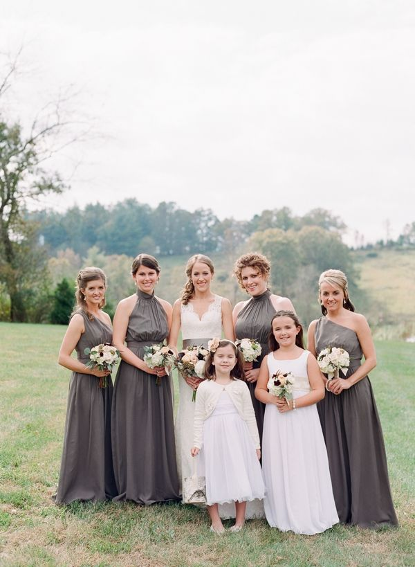 bridesmaids in long silver | Chris Isham #wedding