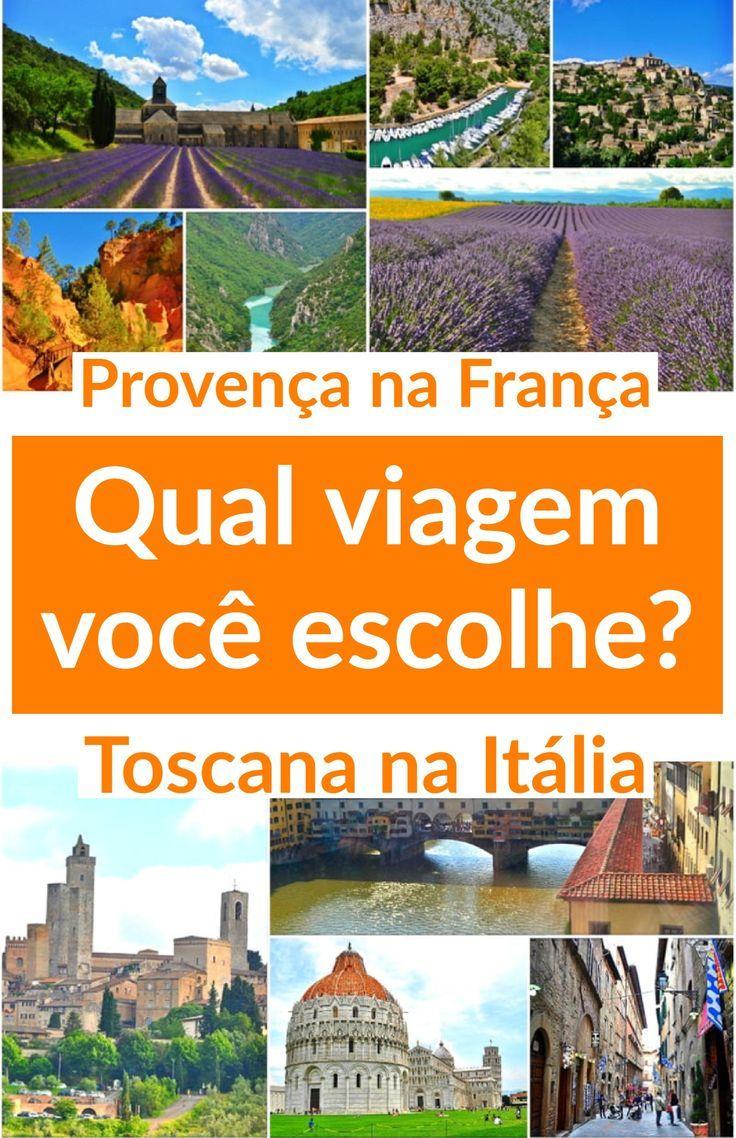 Qual sua primeira viagem? Para a Região da #Provença na #França ou para a Região da #Toscana na #Itália? Para ajudar nós detalhamos custos, duração de roteiro, cidades, compras e pontos turísticos.