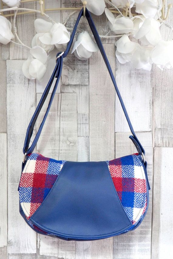 Harris Tweed handbag handmade. Red white and by HandbagsandHome