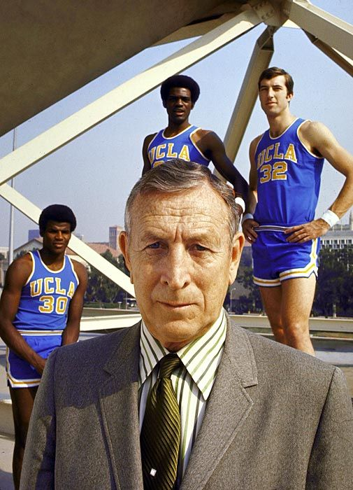 John Wooden with Sidney Wicks, Curtis Rowe, and Steve Petterson.  1970