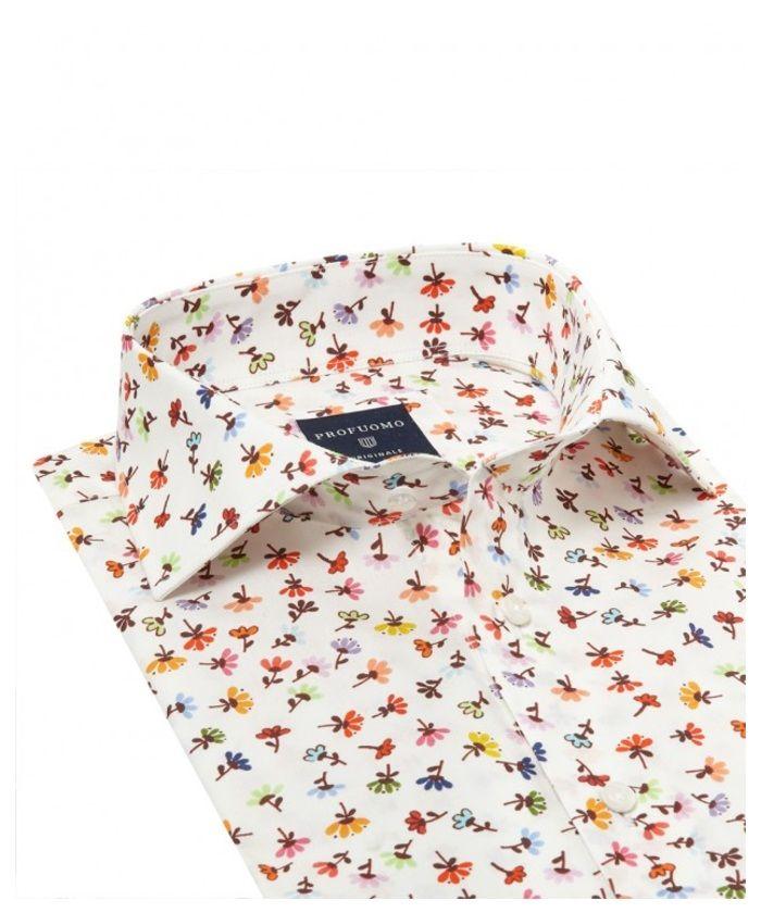 Meer zomergevoel dan dit shirt kan haast niet. Geniet van de zomer met deze Profuomo pracht! Collar Cutaway Cuff Single Cuff Sleeve Normal Sleeve Style Print Design Flower Colour Orange Fit Slim Fit Label Originale Quality Cotton